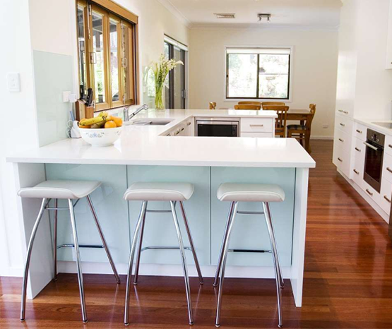 Kitchen island design with seating area